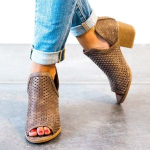 Core Perforated Core Booties in Dark Taupe 6 6.5